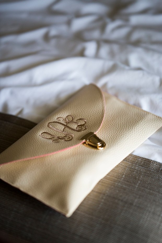 Custom monogramed clutch Jenna and Rob's Castle Hill In Wedding | The Newport Bride