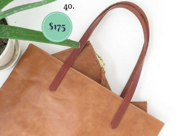 Brown Leather Tote on The Newport Bride's Holiday Gift Guide