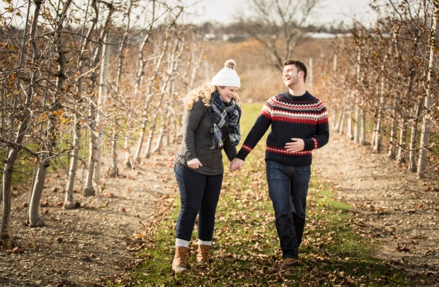 Dan and Joanna's Christmas Tree Farm Engagement Pictures on The Newport Bride